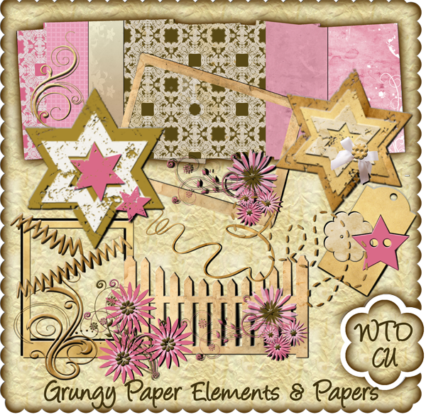 Grungy Papers & Element Scrapbook Kit