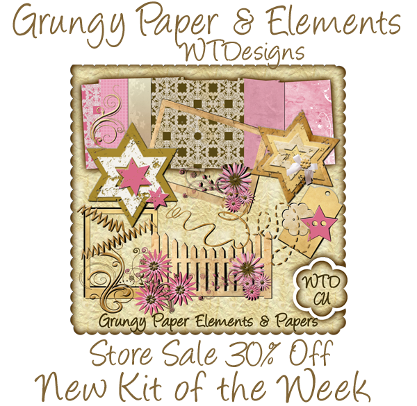 Grungy Papers & Element Scrapbook Kit On Sale